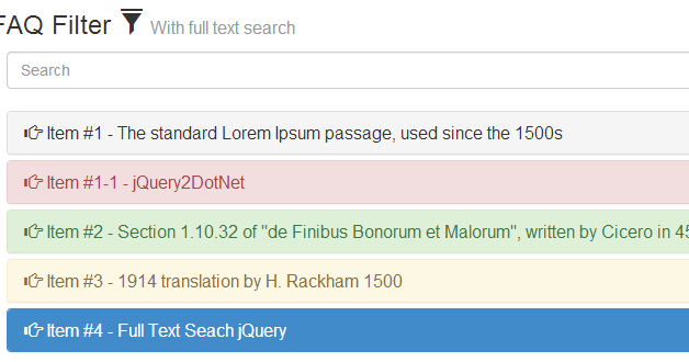 Bootstrap FAQ Filter With full text search - jQuery 2 DotNet
