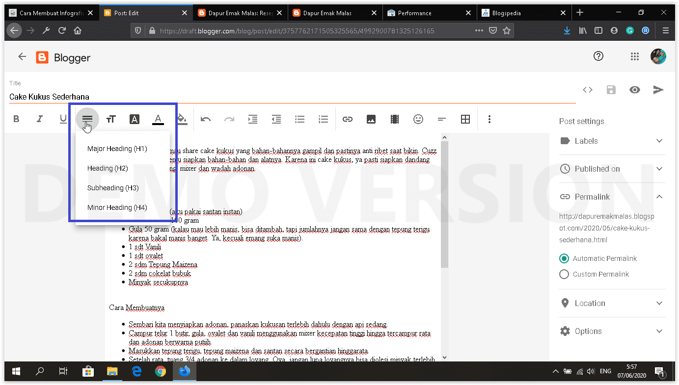 dashboard blogger baru setting heading
