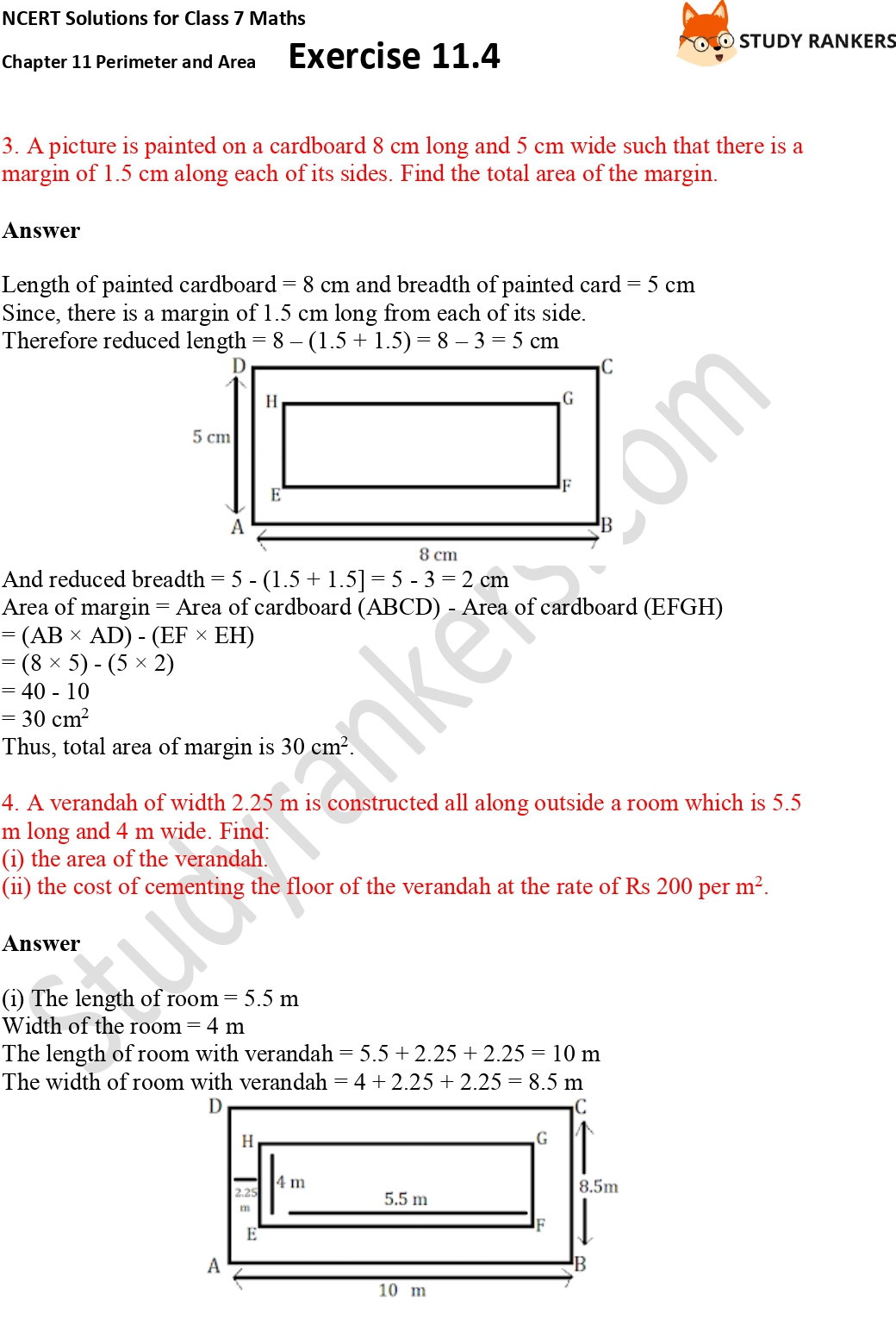 NCERT Solutions for Class 7 Maths Ch 11 Perimeter and Area Exercise 11.4 Part 2