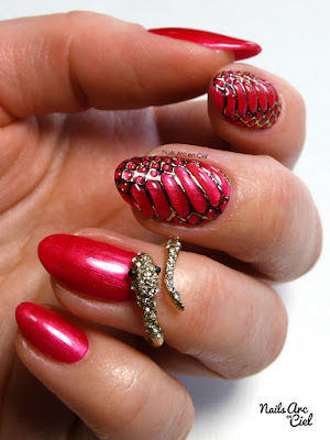 Nail art - Peau de reptile serpent 3D gel et foil par Nails Arc en Ciel