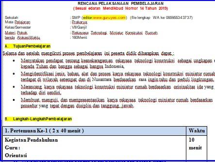 Ini adalah contoh rpp guru 1 lembar prakarya smp kelas 7 semester 1  sesuai surat edaran kemendikbud no 14  tanggal 10 desember tahun 2019 revisi 2020