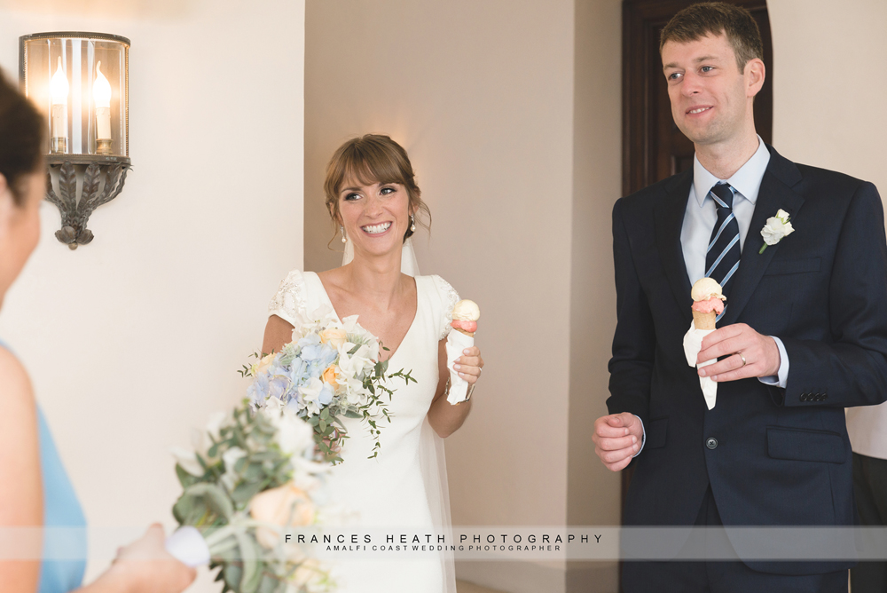 Bride and groom with gelato
