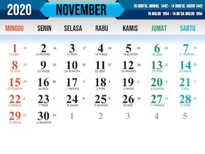 Contoh Kalender tahun 2020