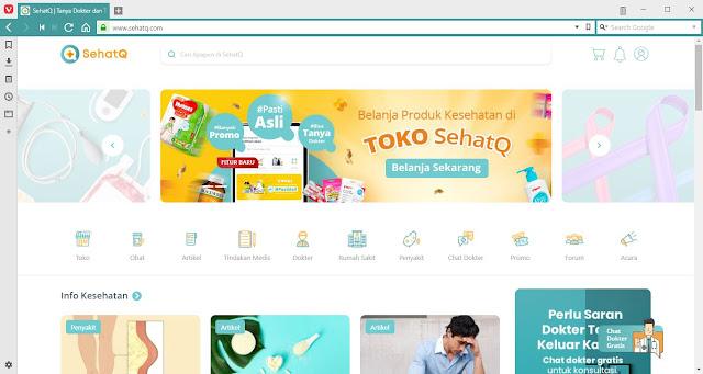Tampilan Website SehatQ.com