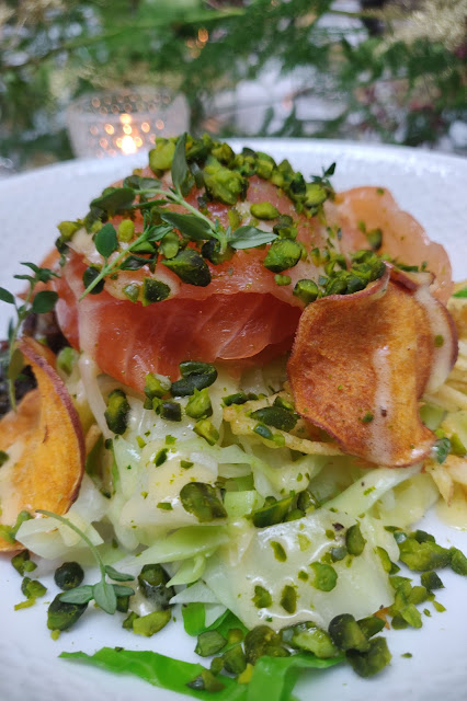 recipe for a festive green poke bowl with home cured salmon