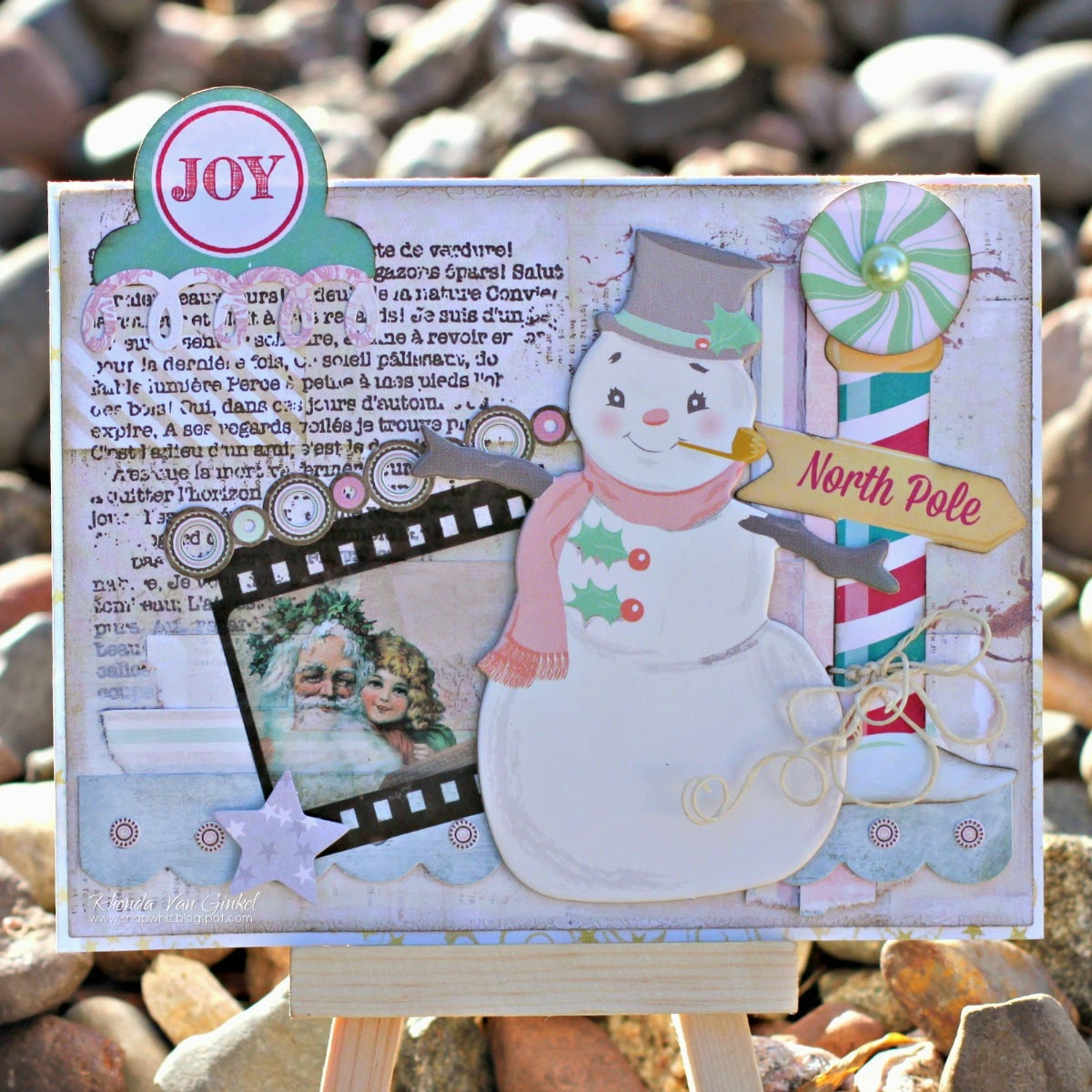 Joy Christmas Card by Rhonda Van Ginkel featuring Candy Cane Lane and Christmas Collage Collections by BoBunny