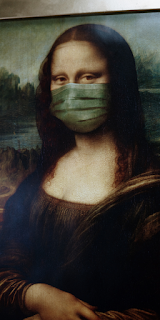 Monalisa wearing a face mask