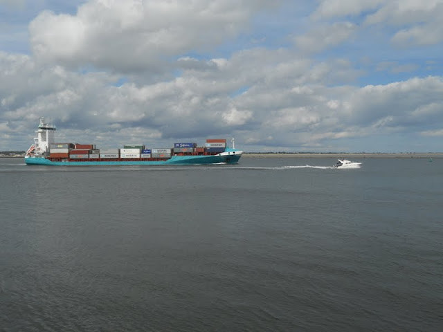 Container ships viewed from the Great South Wall in Dublin