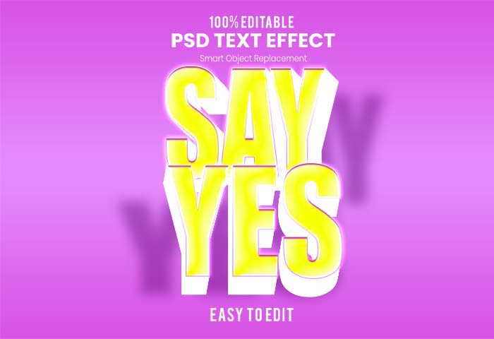 Say Yes Text PSD Mockup