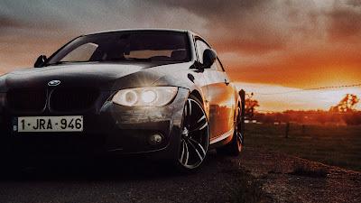 Nature, Sunset, Road, Black BMW