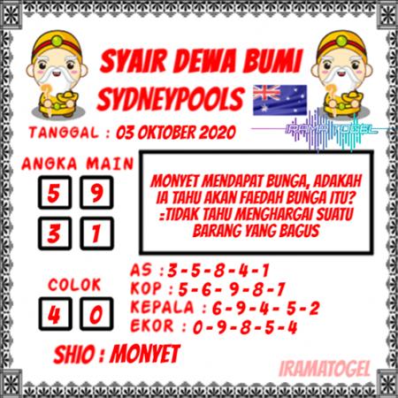 Syair Dewa Bumi Sydney Sabtu 03 Oktober 2020