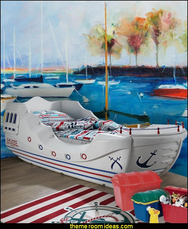pirate bed nautical ships mural  nautical bedroom ideas - decorating nautical style bedrooms - nautical decor - sailing ship theme - coastal seaside beach theme - boat beds - beach house decorating -  Travelers and seafarers - nautical bedding - nautical bedroom furniture