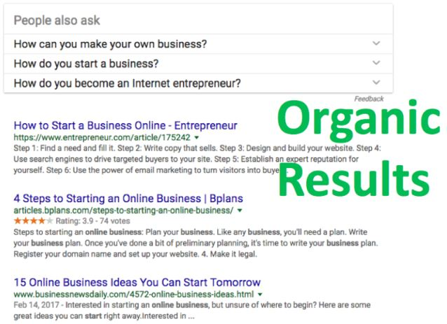google organic search results example serps listing