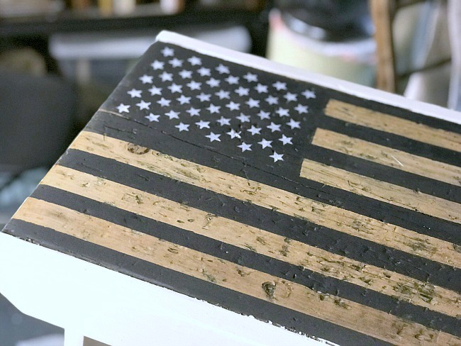 Black and white American flag bench