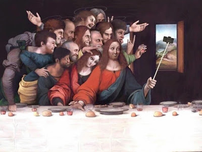 Jesus last supper selfie painting