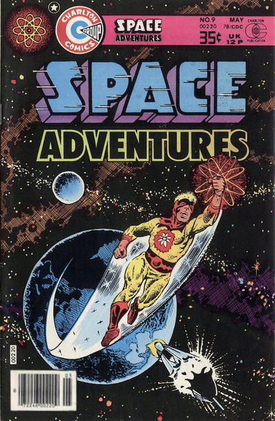 Captain Atom flying into space from Earth as rocket ship beneath him appears to explode