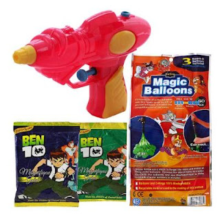 Holi Water Pichkari Shape Squirter M6 With 111 Magic Balloon And 2 Ben 10 Gulal