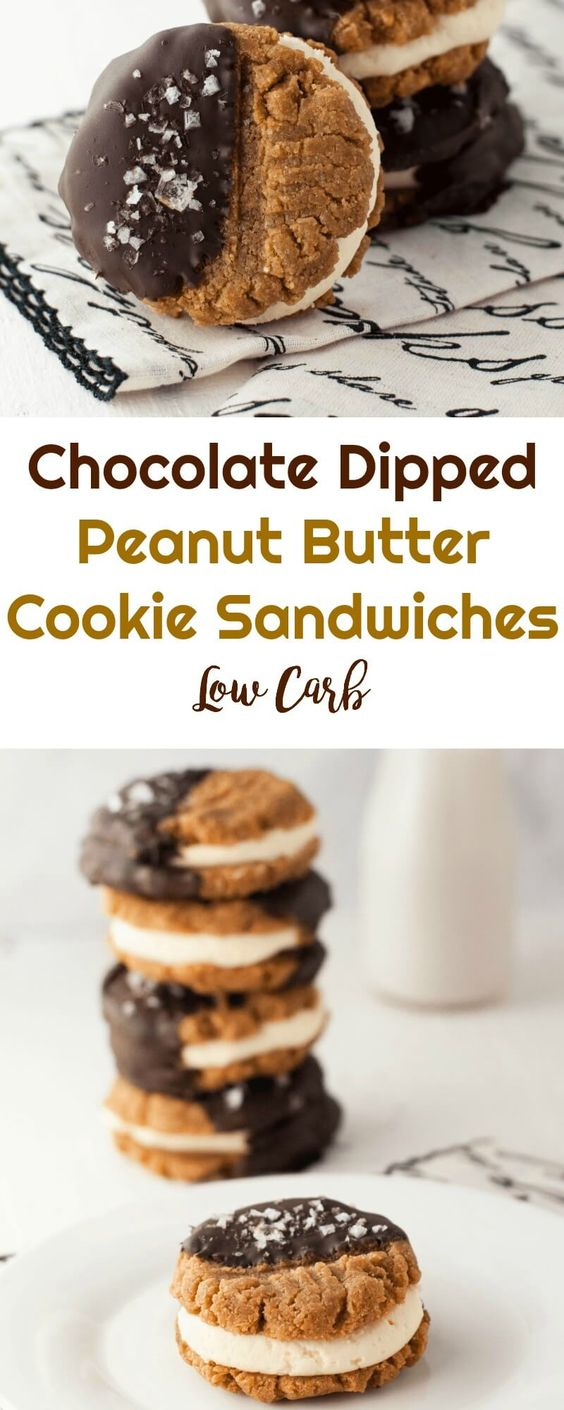 Low Carb Chocolate Peanut Butter Cookie Sandwiches #lowcarb #keto #dessert #chocolate #peanutbutter #cookies #peaceloveandlowcarb