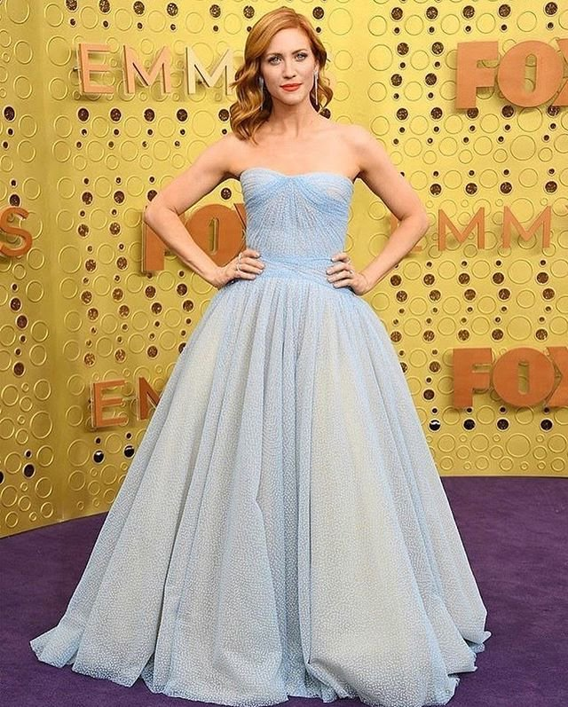 Brittany Snow is a fairy-tale princess in ice blue strapless gown at 71st Emmy Awards in LA