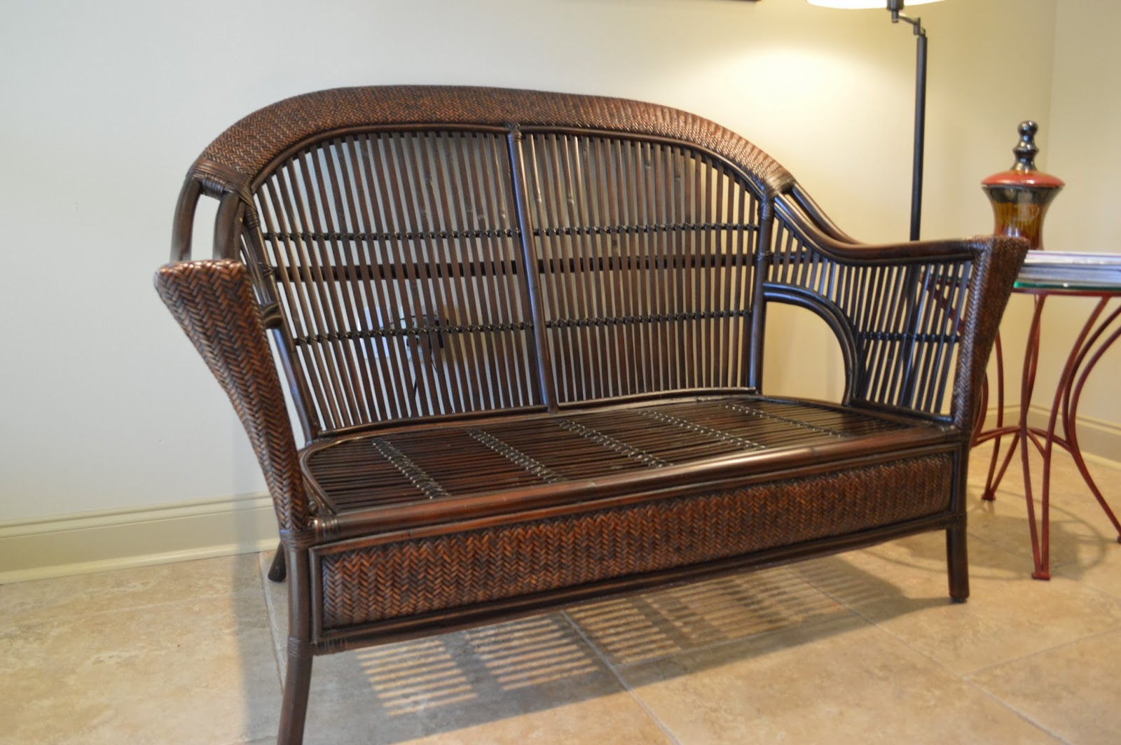 Pier One Wicker Chairs Moving Sale Rattan Loveseat With Cushion And Pillows 250