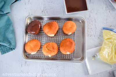 making the Boston cream donuts
