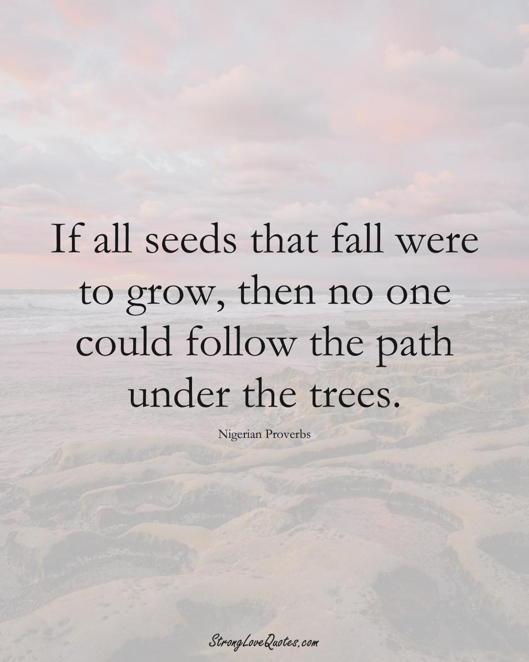 If all seeds that fall were to grow, then no one could follow the path under the trees. (Nigerian Sayings);  #AfricanSayings