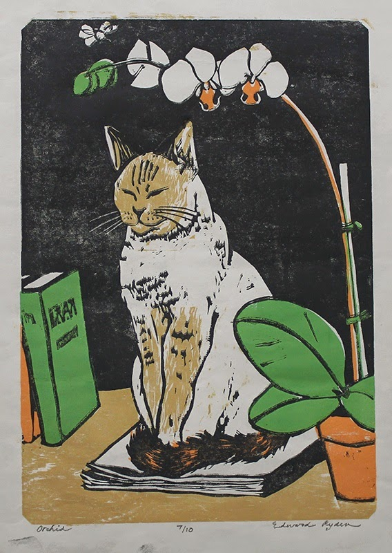 (print) cat, book, orchid