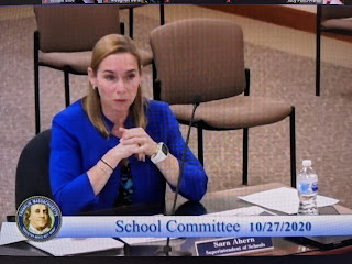 Superintendent Sara Ahern answers a question during the School Committee meeting
