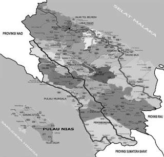 peta provinsi sumatera utara hitam putih