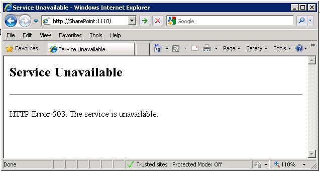 SharePoint 2010 - Service Unavailable - HTTP Error 503  The