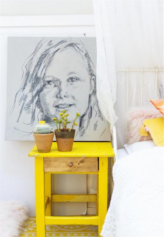 mesita de noche color amarillo chicanddeco