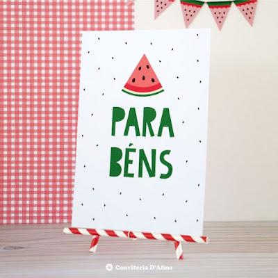 melancia decoração festa poster display