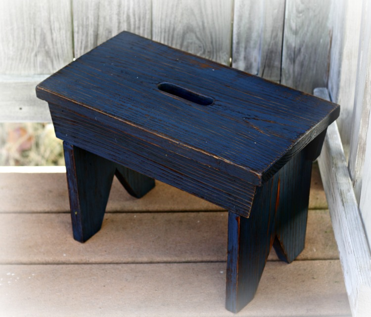 Rustic blue footstool