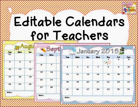 Calendars for Teachers 2014-2015