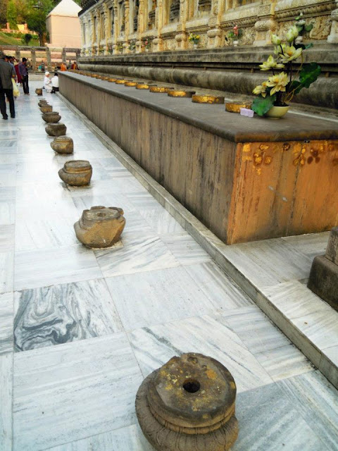 The Chankamana i.e. the raised platform with lotuses on them at the Mahabodhi Temple, Bodhgaya. The lotuses represent the places where Buddha's feet rested.