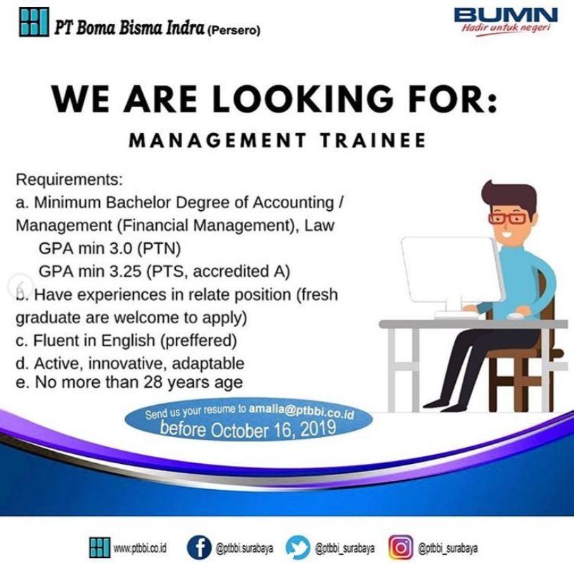 Pt Boma Bisma Indra Persero Fresh Graduate Management Trainee
