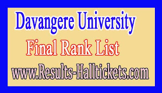 Davangere University B.P.Ed Provisional May/June 2015-16 Rank List