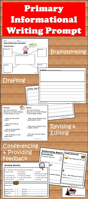 Free informational writing prompt for primary students - takes students through the entire writing process - from Raki's Rad Resources.