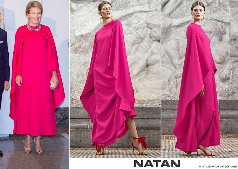 Queen Mathilde wore a red fuchsia silk gown from spring summer 2020 collection of Natan