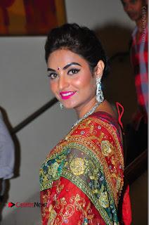 Model Sharon Fernandes Stills in Red Saree at Trendz Exhibition Launch  0033.JPG