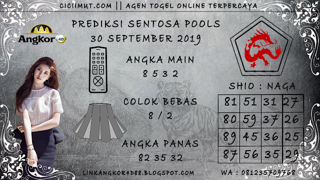PREDIKSI SENTOSA POOLS 30 SEPTEMBER 2019