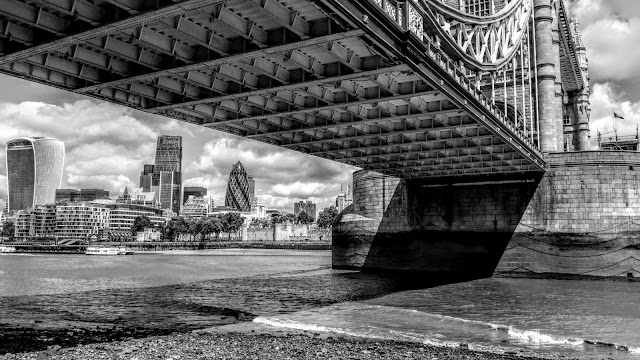 City Beyond the Tower Bridge Black and White