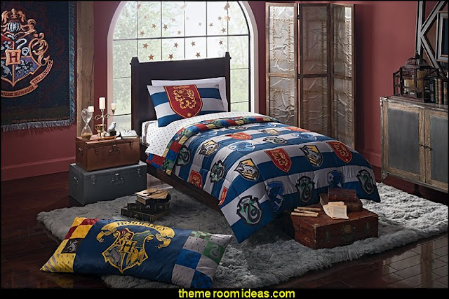 Harry potter themed bedrooms - Harry Potter Room Decor - Harry Potter Bedroom Ideas - Harry Potter  bedding - Harry Potter wall decals - Harry Potter wall murals - harry potter furniture - harry potter party supplies - castle decorating props - harry potter party decorations - Magical Hogwarts House Theme