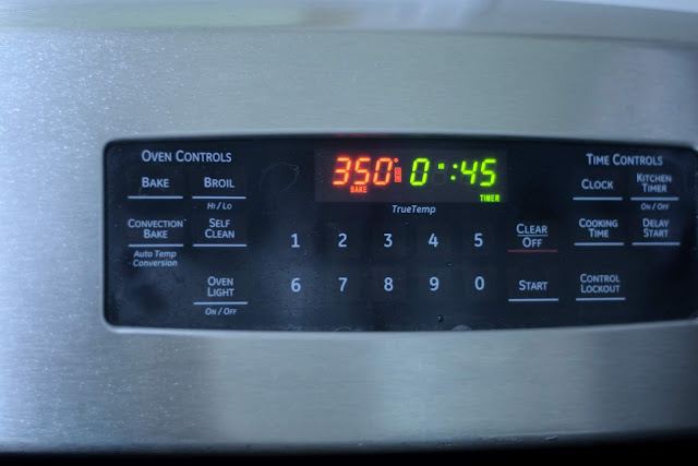 The oven is set to 350 degrees with a 45 minute timer.