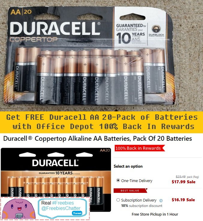 Aaa Battery Promo Code >> Get 2 Free Duracell Aa Aaa 20 Pack Of Batteries Get Real Freebies
