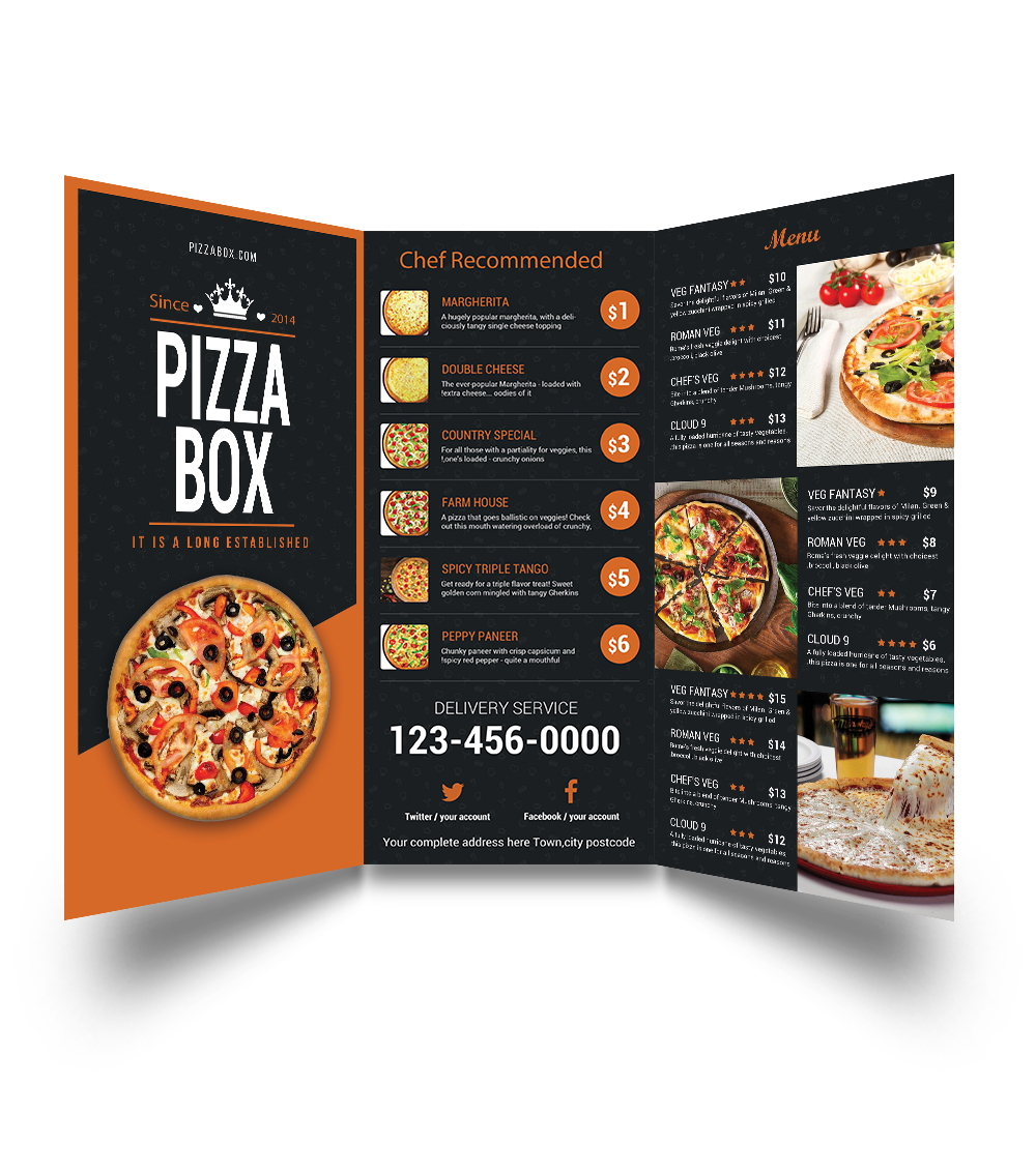 Tag Pizza Menu Card Design Food Sample Creative Ideas Unique