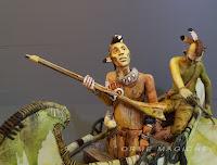 statuine indiani canoa western modellini film fumetti indiano con fucile cartoni orme magiche