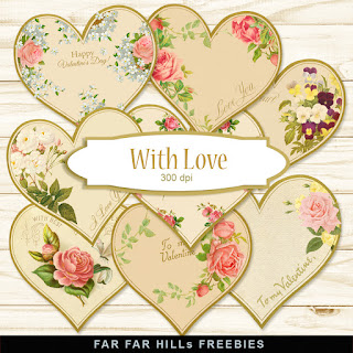 New Freebies Kit for Valentines Day - With Love