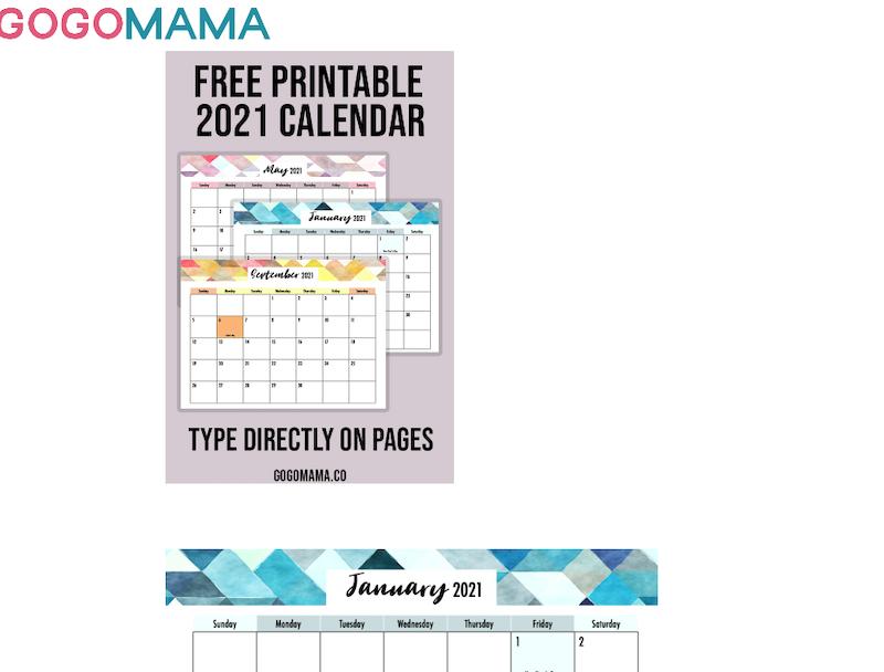 Calendario mensual 2021 con diseño geométrico y colorido en inglés