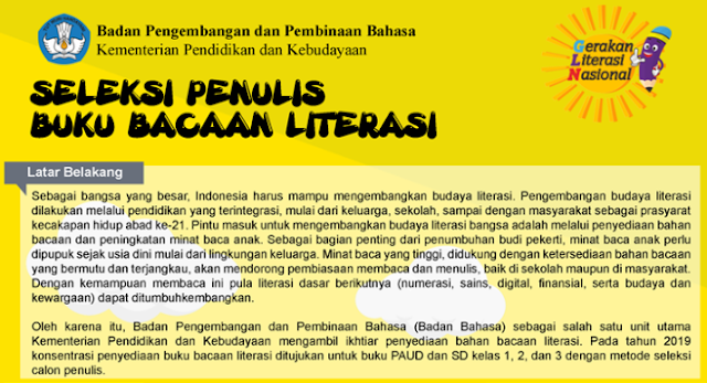 Seleksi Penulis Buku Bacaan Literasi Tahun  TERLENGKAP SELEKSI PENULIS BUKU BACAAN LITERASI TAHUN 2019